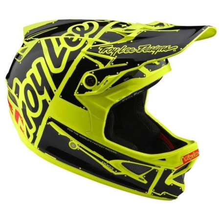 Troy Lee Designs Casco integrale bike Designs D3 Fiberlite yellow fluo/black