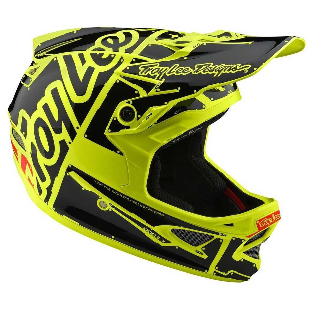 Troy Lee Designs Helmet >> Troy Lee Designs D3 Full Face Bike Helmet Fiberlite Yellow Fluo Black 2019
